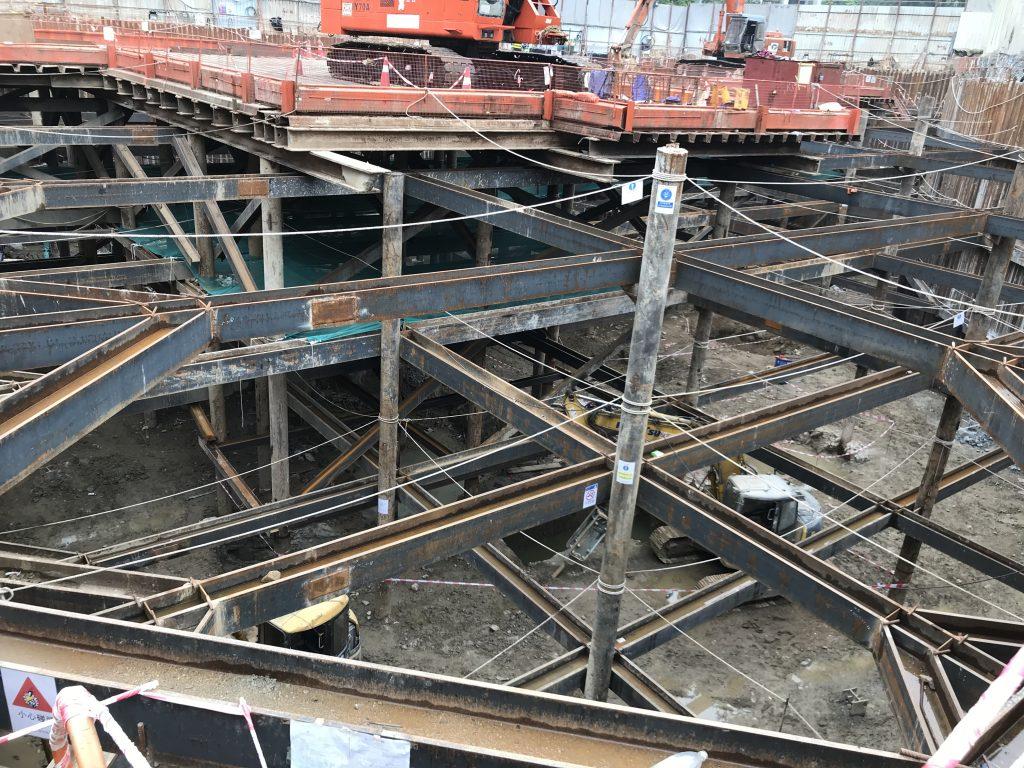 地庫安全支撐及圍令-工字鋼燒焊-地基鋼鐵支架-土木工程鋼鐵結構-基礎工字鋼架