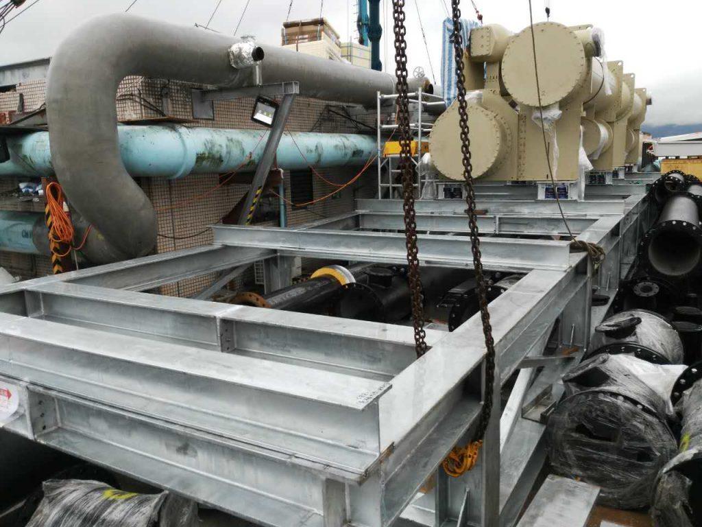 香港佐敦廣場冷氣機鋼架,德福廣場二期天面中央空調鋼架,鋼結構平台加建,天面冷氣鋼架平台工程,冷氣外墻支架