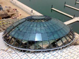 地盤天幕鐵器工程,建築外墻百葉系統,不鏽鋼防水百葉,通風系統防水百葉,大樓穹頂鐵器工程,穹頂鋼結構工程