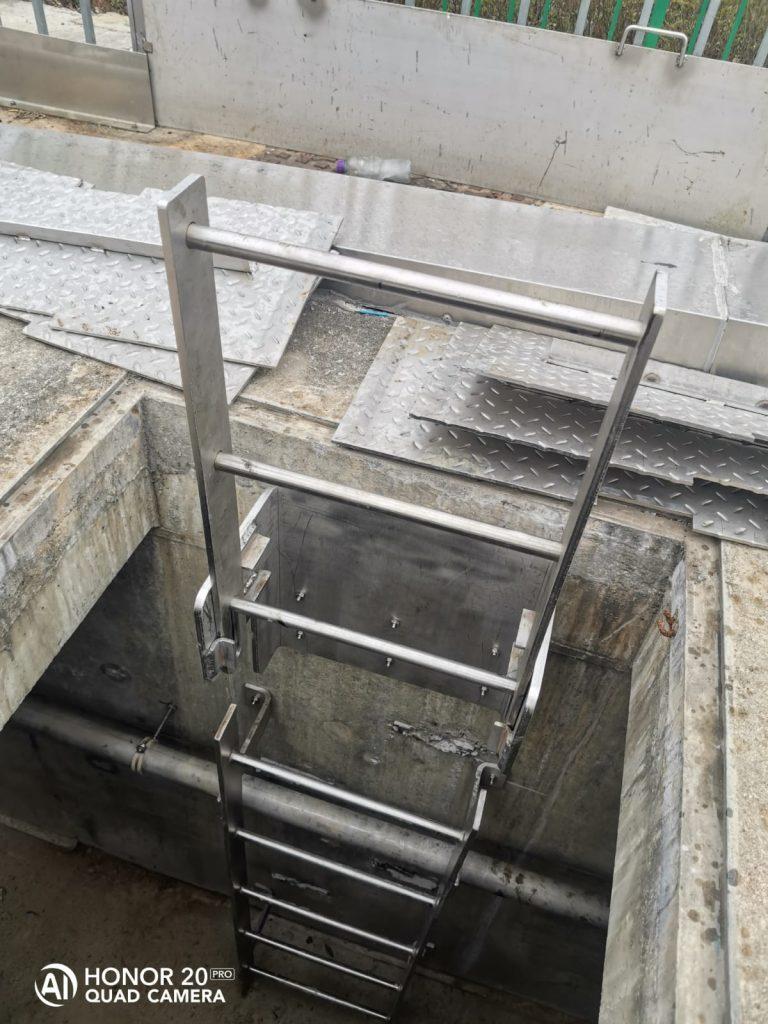 WSD Stainless steel cat ladder,水務署設備標準圖則:WSD 7.3H,泵房不鏽鋼貓梯,天井不鏽鋼貓梯,天井檢修不鏽鋼平台
