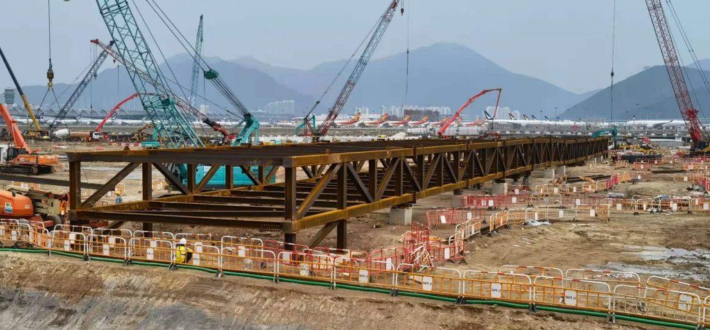 HKIA 3303 -中電電纜和通信管道用臨時橋項目,鋼結構橋樑,Steel structure bridge,鋼結構天橋,鋼結構行人橋樑